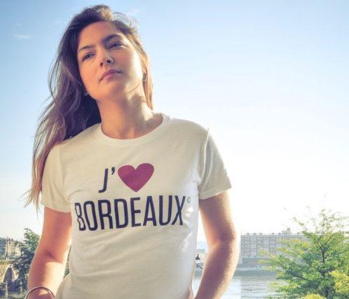 "Tee-shirt femme blanc ""J'aime Bordeaux"""