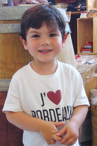 "Tee-shirt enfant blanc ""J'aime Bordeaux"""