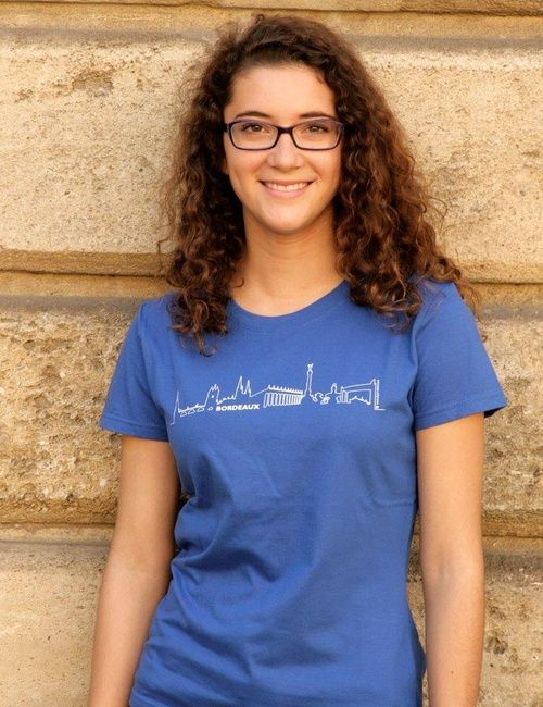 Tee-shirt bleu bordeaux skyline