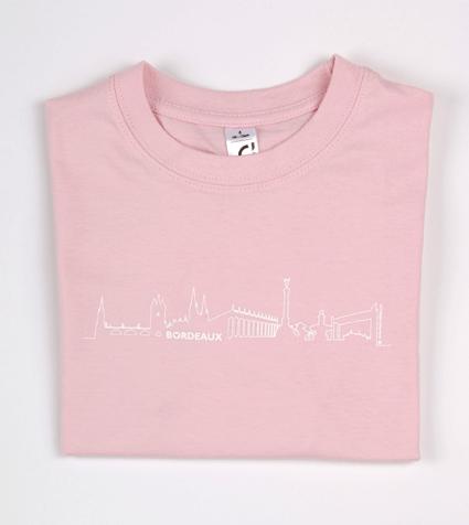 tee-shirt enfant rose clair Bordeaux skyline