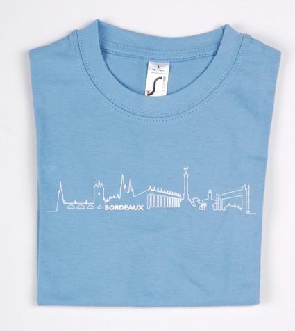 """Tee-shirt enfant bleu ciel """"bordeaux skyline"""""""