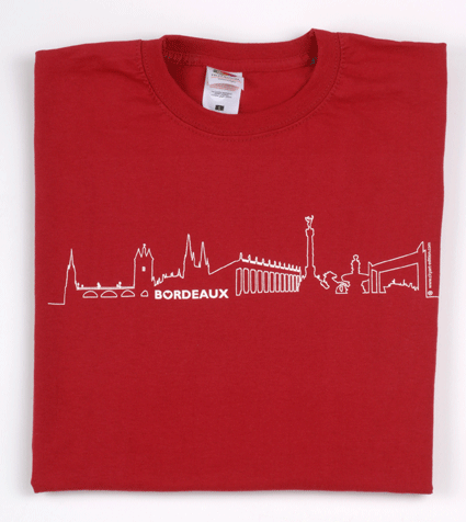 tee-shirt enfant rouge bordeaux skyline