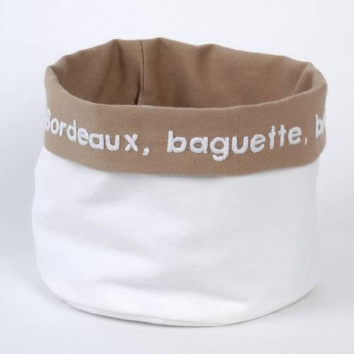 corbeille à pain tissu blanc et beige