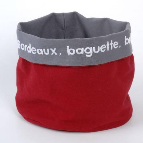 Corbeille à pain tissu rouge et gris