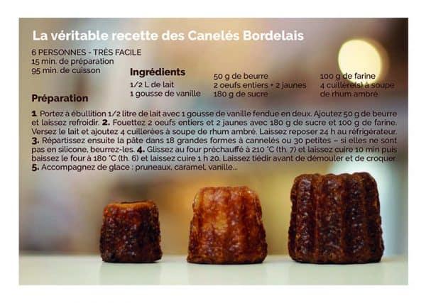 carte postale recette canelé de bordeaux