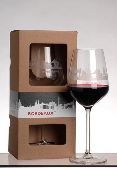 Coffret verre à vin skyline de Bordeaux
