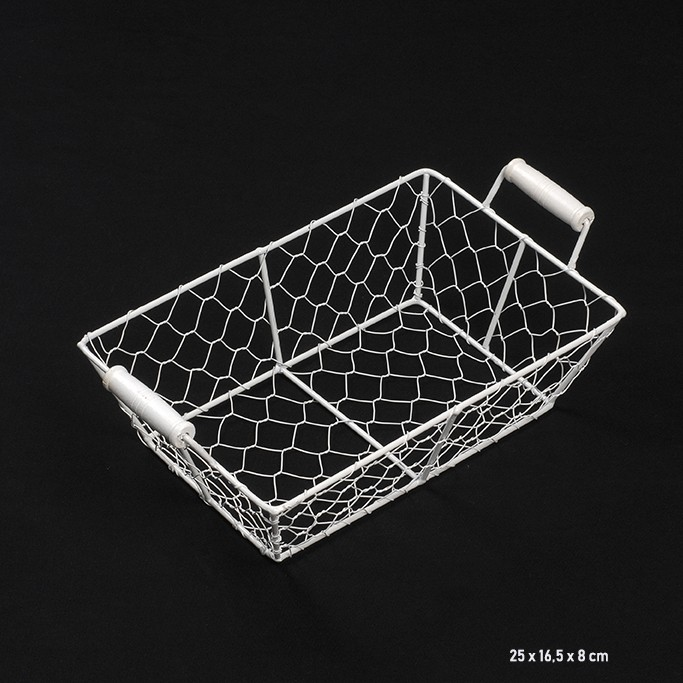 corbeille rectangulaire en metal blanc
