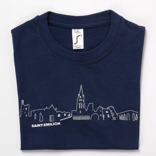 tee-shirt enfant souvenir saint-emilion bleu marine